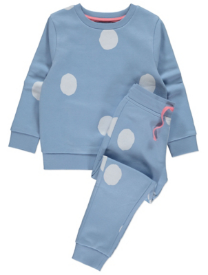 Blue Spot Print Sweatshirt and Joggers Outfit