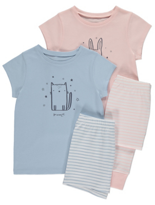 Blue and Pink Animal Print Short Sleeve Pyjamas
