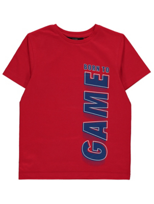 Red Born to Game Slogan Short Sleeve T-Shirt