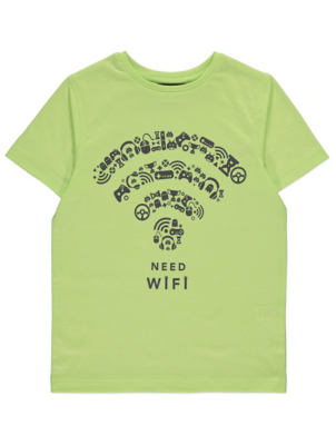 Lime Green Need Wifi Slogan Short Sleeve T-Shirt