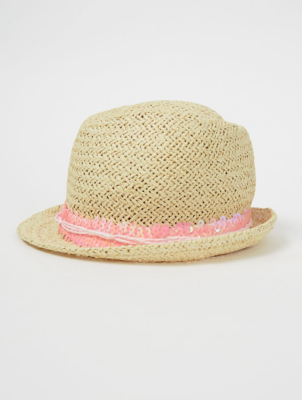 Natural Woven Love Slogan Sequin Trilby
