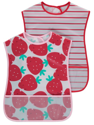 Strawberry Print Crumb Catcher Bibs 2 Pack