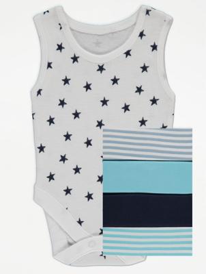 Blue Sleeveless Bodysuits 5 Pack