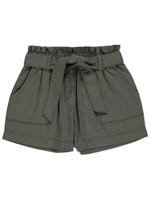 Khaki Tie Detail Woven Shorts