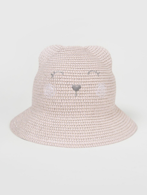 Pink Cat Embroidered Cloche Hat