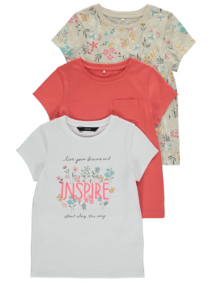 Floral Slogan T-Shirts 3 Pack