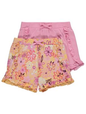 Pink Tropical Print Ruffled Shorts 2 Pack