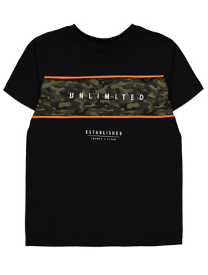 Black Camo Band Unlimited Slogan T-Shirt