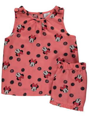 Disney Minnie Mouse Coral Vest Top and Shorts Outfit