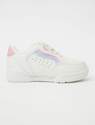 First Walkers Pink Perforated Retro Stripe Trainers