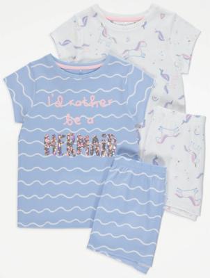 Mermaid Slogan Short Pyjamas 2 Pack