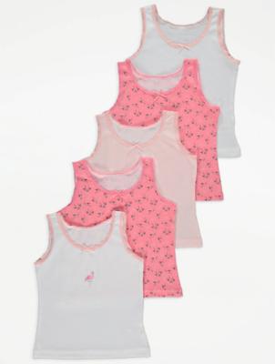 Pink Flamingo Print Vests 5 Pack