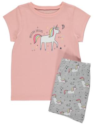 Pink Unicorn Print Cotton Crew Neck Pyjamas