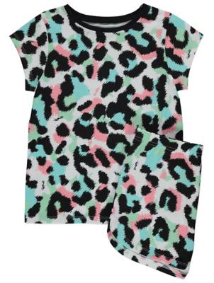 Leopard Print Cotton Crew Neck Pyjamas