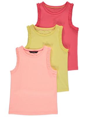 Yellow Ruffled Trim Vest Tops 3 Pack