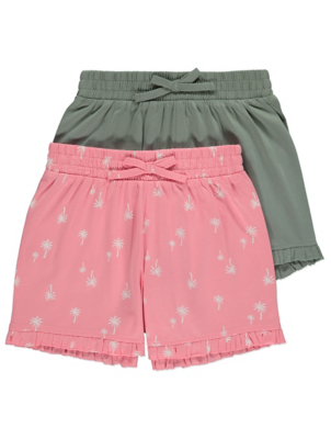 Pink Palm Print Frill Trim Shorts 2 Pack