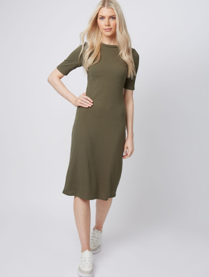 Khaki Ribbed Fitted Jersey Midi Dress