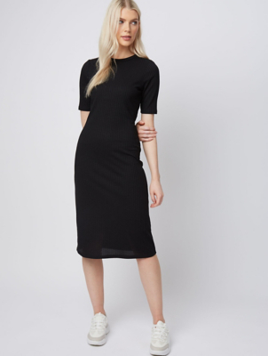 Black Ribbed Fitted Jersey Midi Dress
