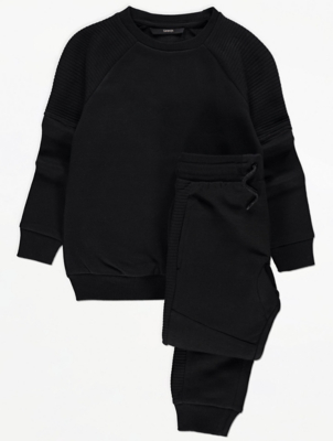 Black Ribbed Panel Sweatshirt and Joggers Outfit