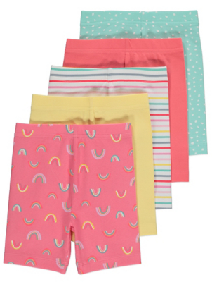 Rainbow Print Jersey Cycle Shorts 5 Pack