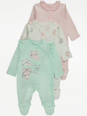 Cat Print Pastel Sleepsuits 3 Pack