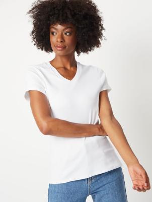 White Fitted V-Neck T-Shirt