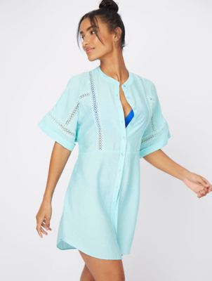 Blue Woven Panel Detail Beach Cover Up