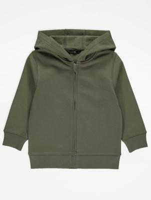 Khaki Zip Front Hoodie