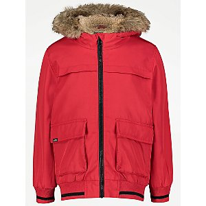 Red Hooded Bomber Jacket