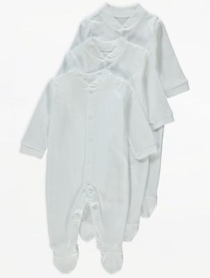 White Sleepsuits 3 Pack | Baby | George