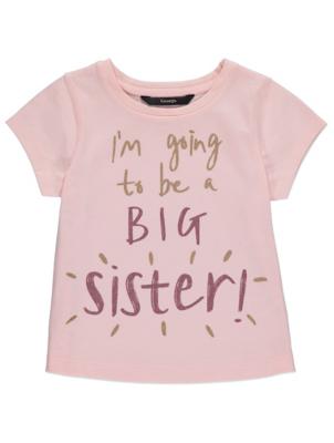 Pink Big Sister Slogan T-Shirt