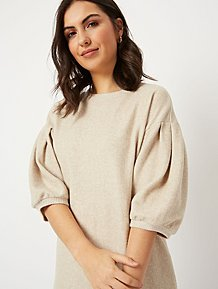 Fine knit oversized relaxed fit plain cream grey color jumper dress with hoodie