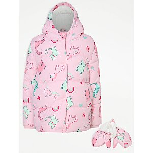 Pink Dinosaur Print Padded Coat and Mittens