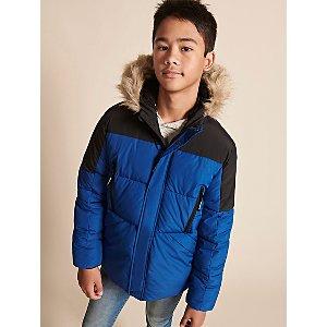 Blue Colour Block Faux Fur Trim Padded Mountain Jacket