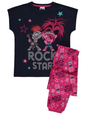 Trolls Pink Glitter Rock Star Slogan Pyjamas