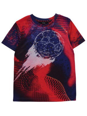 Red Football Graphic Crew Neck T-Shirt