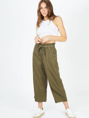 Khaki Cropped Tencel Trousers