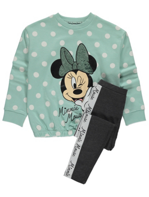 Disney Minnie Mouse Mint Sweatshirt and Leggings Outfit