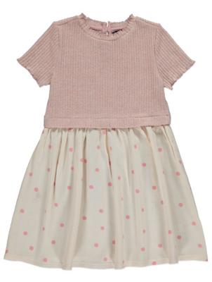 Pink Ribbed Polka Dot 2 in 1 Dress
