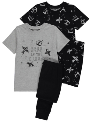 Aeroplane Slogan Short Sleeve Pyjamas 2 Pack