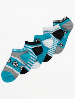 Football Print Trainer Liner Socks 5 Pack