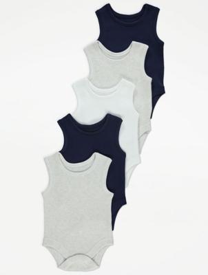 Navy Marl Sleeveless Bodysuits 5 Pack