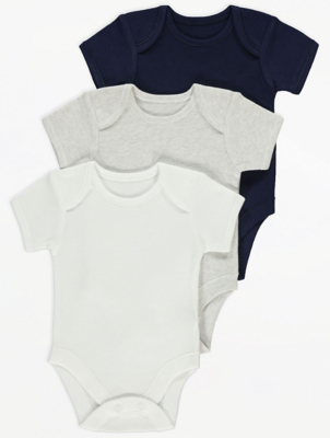 Navy Short Sleeve Bodysuits 3 Pack