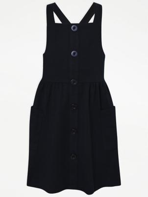 Girls Navy Button School Pinafore Dress