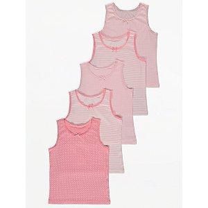 Pink Polka Dot Print Vest Tops 5 Pack