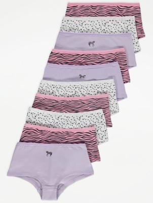 Purple Zebra Short Knickers 10 Pack