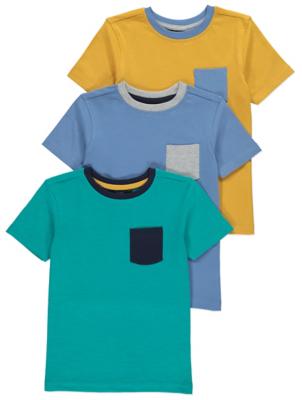 Contrast Trim Short Sleeve T-Shirts 3 Pack