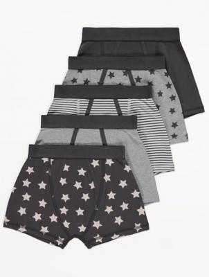 Grey Stripe Print Trunks 5 Pack