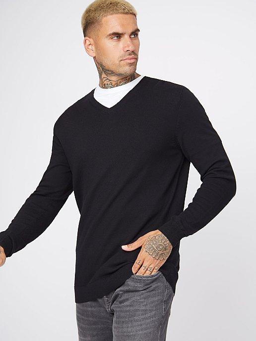 Black Fine Knit V Neck Jumper