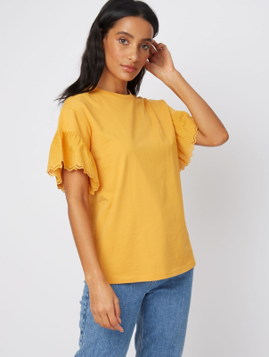 Yellow Embroidered Flared Sleeve T-Shirt